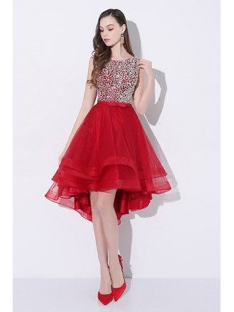 Sparkly Sequins Red High Low Prom Homecoming Dress with Open Back