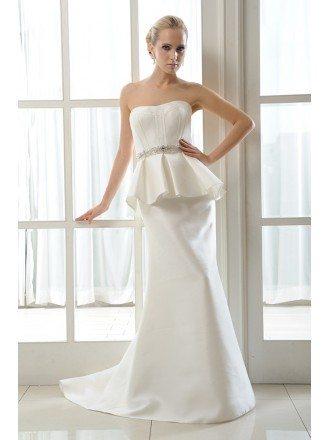Mermaid Strapless Sweep Train Satin Wedding Dress With Beading