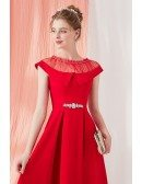 Vintage Red Knee Length Short Party Dress with Illusion Neckline