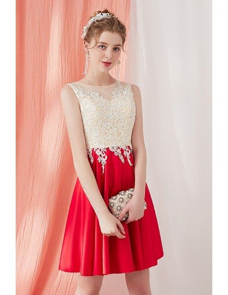Pretty Champagne and Red Short Homecoming Dress Aline with Lace