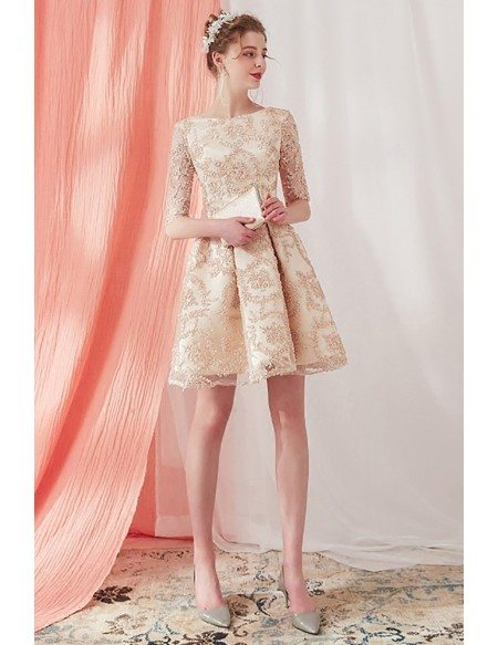 Elegant Champagne Lace Half Sleeve Short Homecoming Dress Pleated