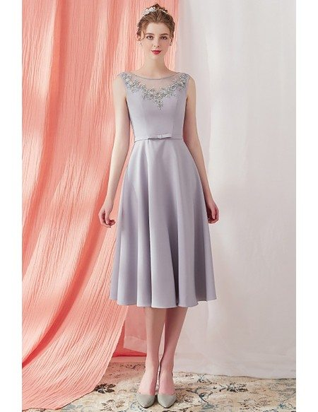 Elegant Grey Beaded Neckline Knee Length Party Dress V Back