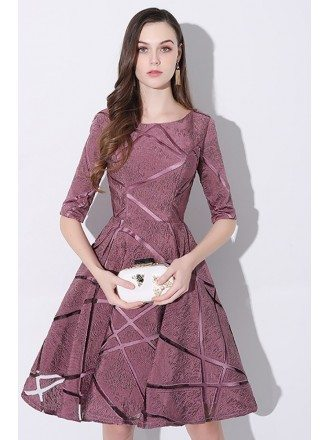 Special Purple Aline Short Party Dress with Sleeves