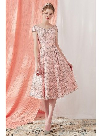 Unique Vintage Pink Tea Length Party Dress with Cap Sleeves