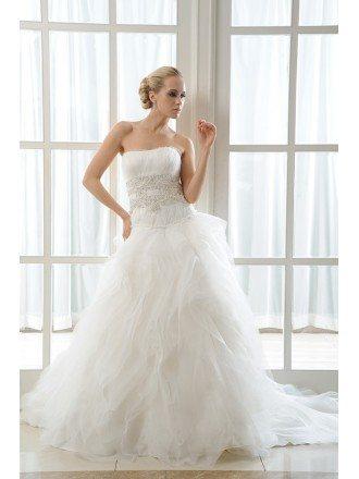Ball-Gown Strapless Chapel Train Organza Wedding Dress With Cascading Ruffles