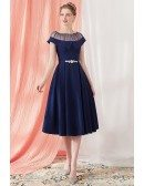Elegant Navy Blue Vintage Homecoming Party Dress Knee Length