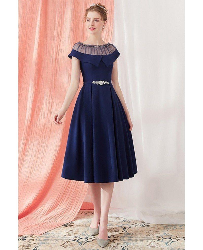 Blue Knee Length Formal Dresses