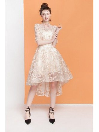 Pretty Champagne Lace High Low Homecoming Dress with Short Sleeves