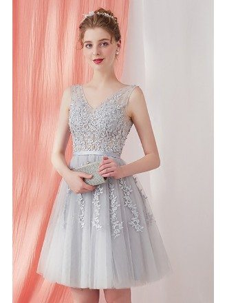 Grey Lace Short Tulle Homecoming Party Dress Bridesmaid Dress Sleeveless