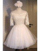 A-line Off-the-shoulder Short Tulle Homecoming Dress With Appliques Lace