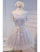 Champagne A-line Off-the-shoulder Short Tulle Homecoming Dress With Flowers
