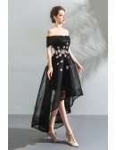 Black Tulle High Low Off Shoulder Prom Dress With Appliques