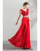 Elegant Long Red Chiffon Evening Party Dress With Jeweled Waistline