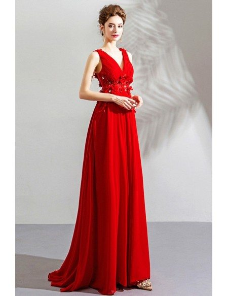 new arrivals pretty cool best cheap Flowy Long Red Chiffon Flowers V-neck Prom Dress Sleeveless ...