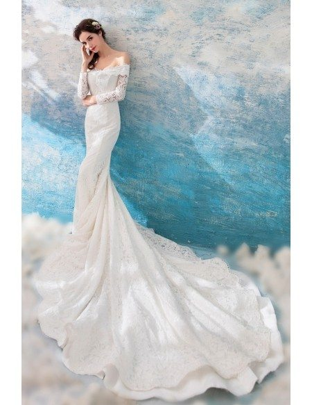 Modern Off Shoulder Sleeved Lace Wedding Dress With Cathedral Train