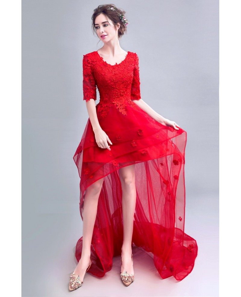 Red And White Lace Prom Dress: Red Lace High Low Prom Party Dress With Short Sleeves And