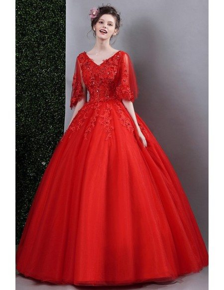 Red Lace Ball Gown Formal Dress For Wedding With Cape Sleeves