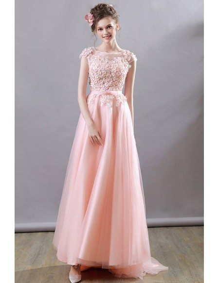 Gorgeous Flowy Long Prom Dress Pink Flowers With Cap Sleeves