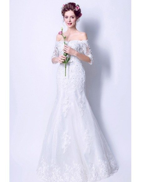 Fit And Flare Lace Beading Wedding Dress With Off Shoulder Sleeves