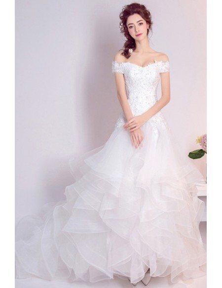 Cascading Ruffle Lace Beading Wedding Dress With Off Shoulder Straps