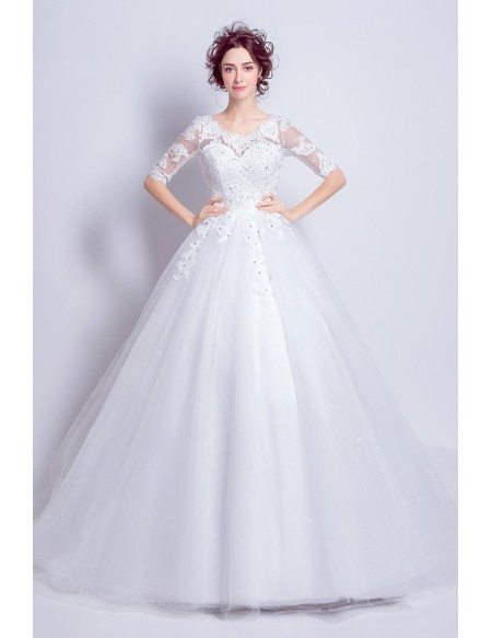 1/2 Sleeves Lace Beaded Ballroom Wedding Dress With Long Train