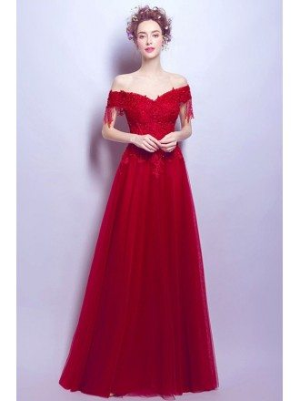 Off Shoulder Burgundy Tulle Prom Dress Long With Lace Beading