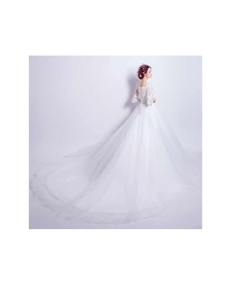 Inexpensive Vintage Ballroom Wedding Dress With Lace Flare