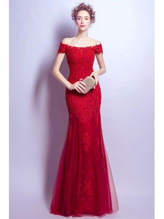 Off Shoulder Fitted Red Bridal Party Dress With Beading All Lace