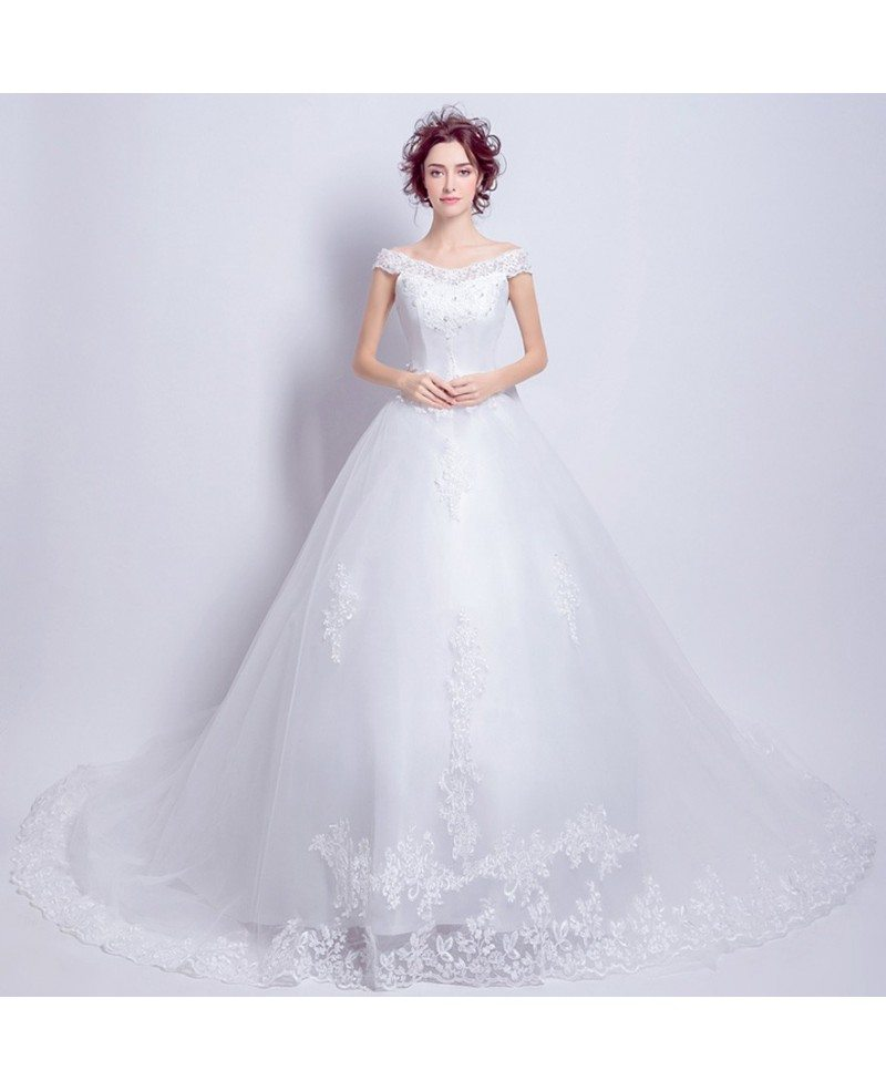 Princess Ballgown Wedding Dress With Off Shoulder Straps Long Train Wholesale T69516 Gemgrace Com,Wedding Dresses With Sleeves And Pockets