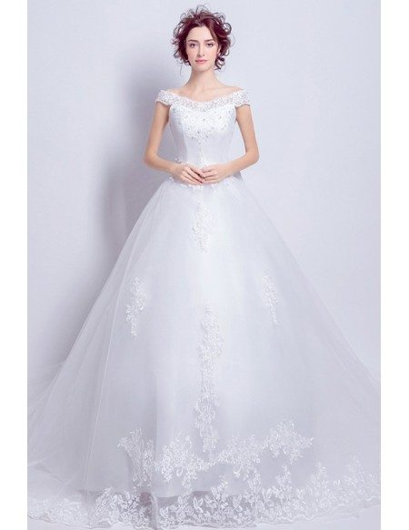 Princess Ballgown Wedding Dress With Off Shoulder Straps Long Train