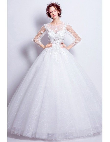 Beautiful Tulle Ballroom Bridal Gown With Long Floral Sleeves
