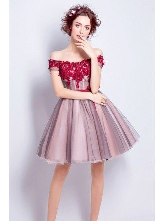 Floral Short Red Homecoming Prom Dress With Off Shoulder Straps