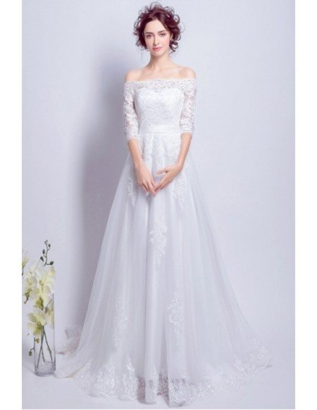 Goddess Lace Long Train Bridal Dress With 1/2 Off Shoulder Sleeves