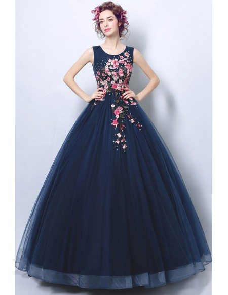 Glamorous Dark Navy Blue Ballroom Formal Gown Dress With Applique