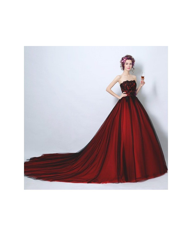 Red And White Ball Gown Wedding Dress: Strapless Black And Red Ball Gown Wedding Party Dress Long