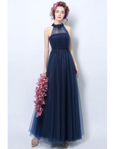 Vintage Long Halter Navy Blue Prom Dress With Beaded Lace