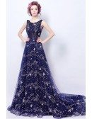Sparkly Starry Dark Blue Long Formal Prom Dress With Train