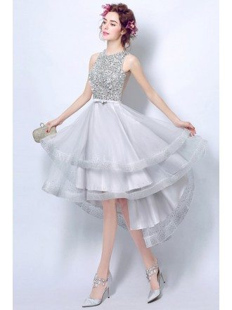Sparkly Silver Sequined Prom Dress Short In Front Long In Back