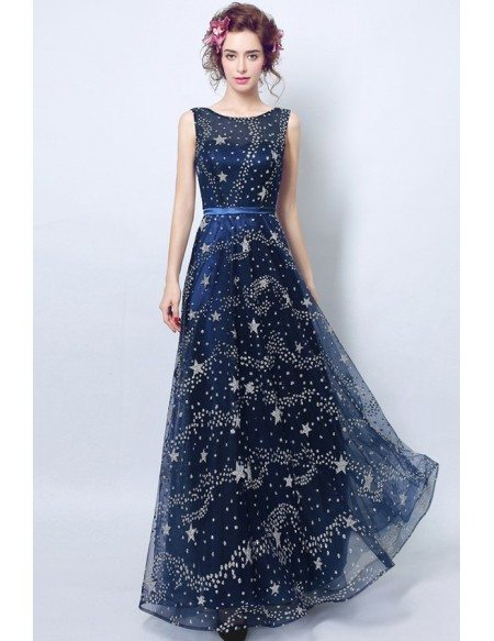 Shining Starry Navy Blue Prom Dress Long With Open Back