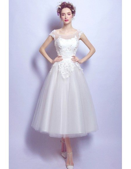 Vintage Tea Length Lace Beading Wedding Dress With Cap Sleeves