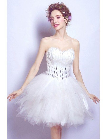 Strapless Feather Short Ruffle Wedding Party Dress For Reception