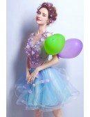 Cute Lavender Blue Floral V-neck Short Prom Dress With Open Back