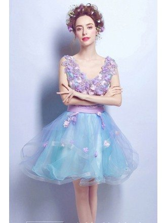 Cute Lavender Blue Floral V-neck Short Prom Dress With Open Back