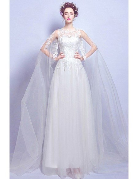 Affordable A Line Lace Wedding Dress With Train Length Sleeves