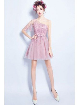 Cute Pink One Shoulder Lace Party Dress In Cocktail Length
