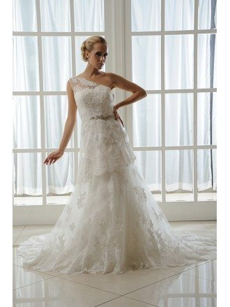 A-Line One Shoulder Court Train Tulle Wedding Dress With Beading Appliques Lace