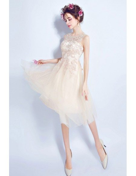 Sleeveless Champagne Knee Length Homecoming Dress With Lace Top