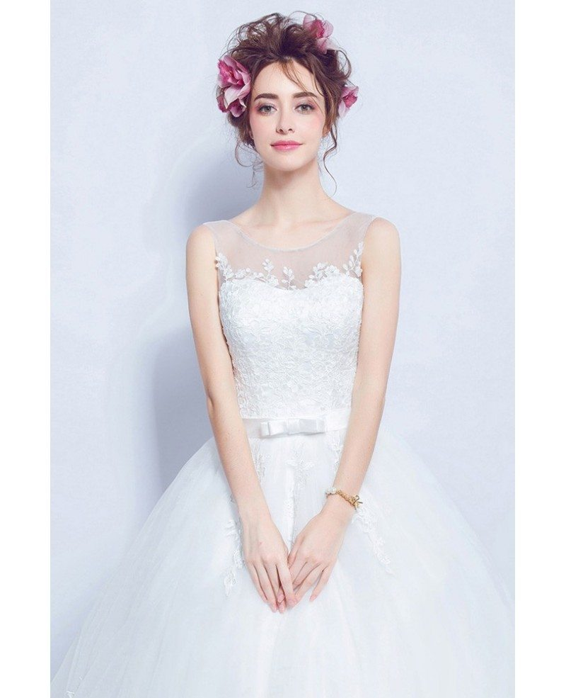 2019 Rustic Sleeveless Ball Gown Wedding Dress With Lace