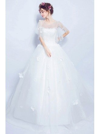 Fairy Cape Sleeve Floral Lace Wedding Gown In Wholesale Price