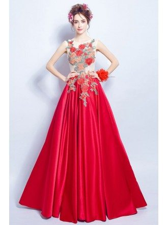Unique Red Satin Formal Gown Dress Long With Embroidery Flowers